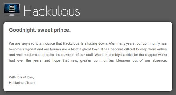 Hackulous closed