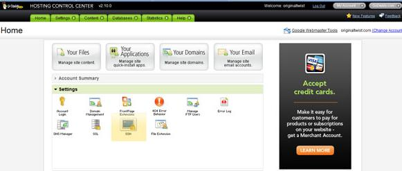 godaddy control panel