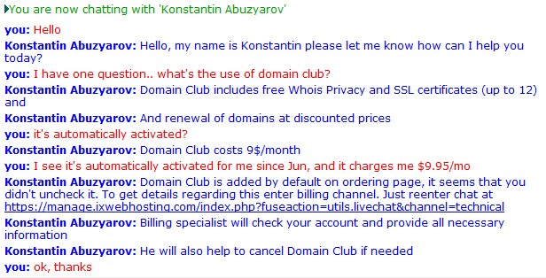 ix domain club service