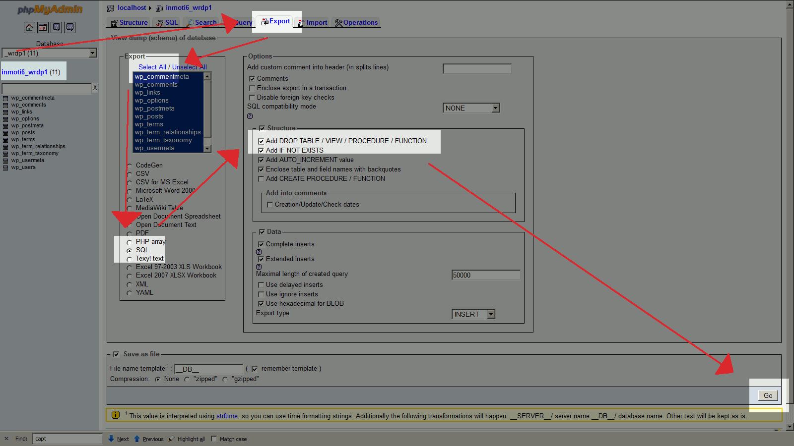database export via phpmyadmin