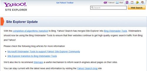 yahoo site explorer closed